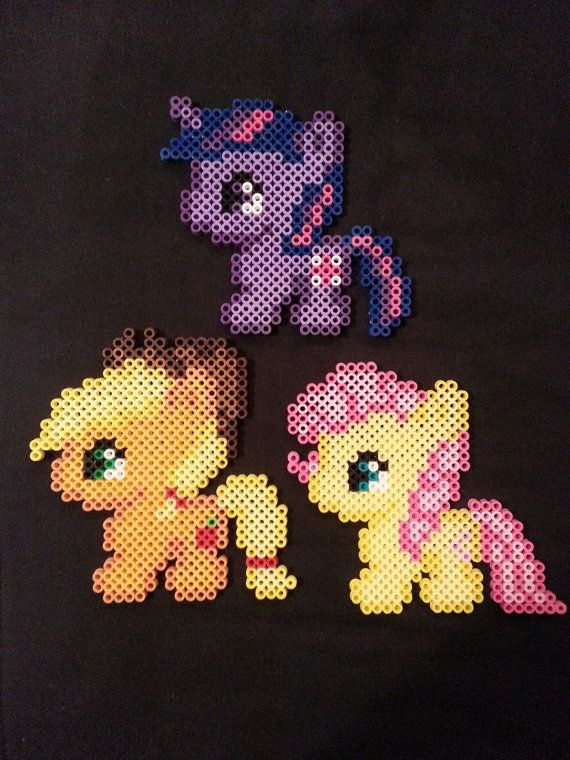 My Little Pony Perler Bead Figures by AshMoonDesigns on Etsy, $5.00 https://www.etsy.com/shop/AshMoonDesigns *