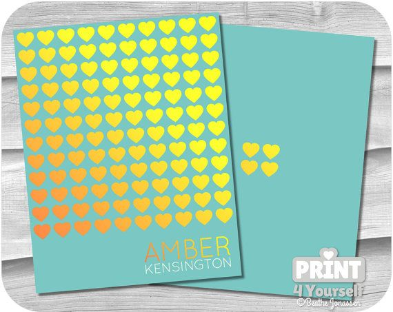 Personalized Erin Condren Golden Hearts Cover by Print4Yourself