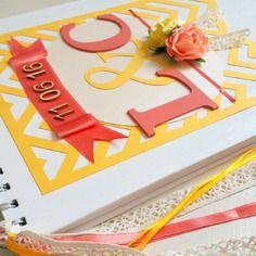 Livre d'or mariage champêtre chevrons - jaune et pêche - l'instant c