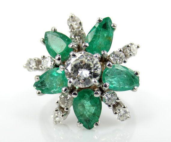 Vintage Diamond & Emeralds Cluster Flower Ring - Engagement