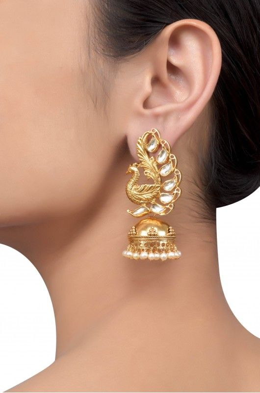 Silver Gold Plated Textured Peacock Crystal Pearl Jhumki