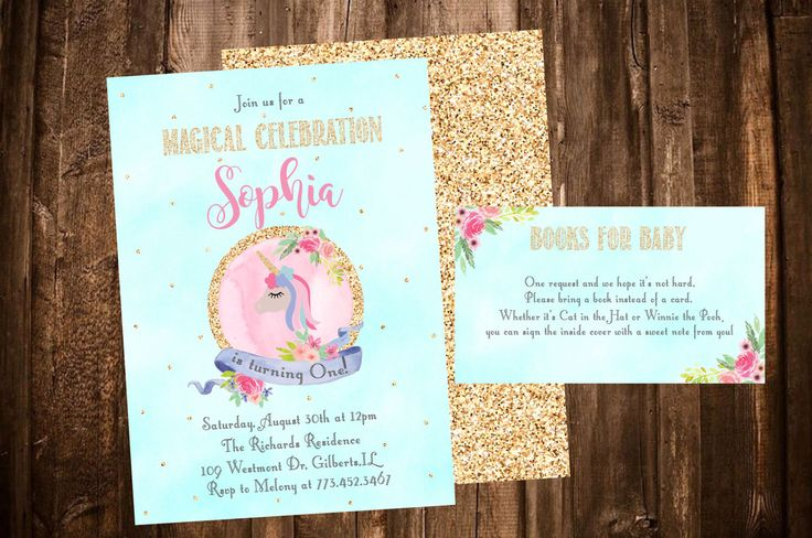 Unicorn Birhtday Invitation, Unicorn First Birthday, Unicorn Books for Baby, Unicorn Party by PeonyBlushDesigns on Etsy https://www.etsy.com/listing/498830912/unicorn-birhtday-invitation-unicorn