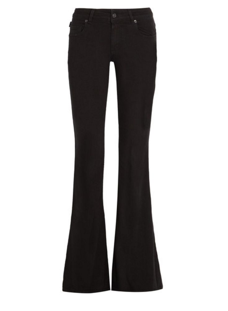 Flared jeans have become a wardrobe mainstay.  TOM FORD's Italian-made pair fits slim through the  thigh and kicks out from the knee for a bold '70s-inspired  silhouette. The black stretch-denim is both flattering and  comfortable. Wear yours day and night.   #70s #Alexander McQueen #Barneys #Bell Bottoms #Flared Jeans #Jeans #Jumpsuit #New York #Romantic #Strapless #Tom Ford