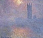 Londres, le Parlement. Trouée de soleil dans le brouillard