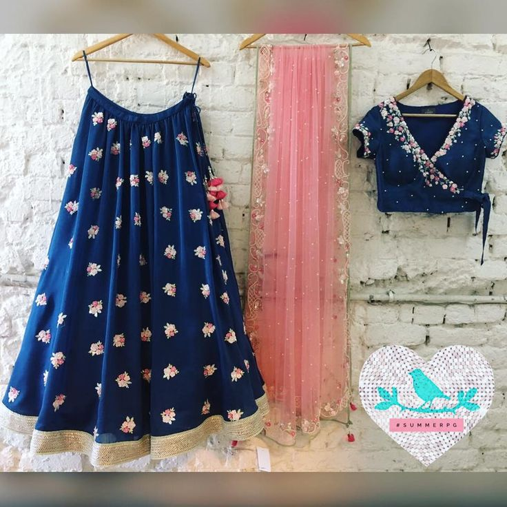Blue Chanderi Tie Up Lehenga Summer by Priyanka Gupta.23 December 2016