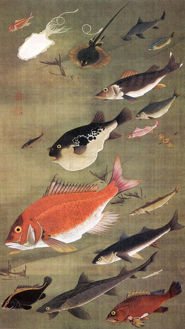 From Wikipedia: Itō Jakuchū(伊藤 若冲?, 1716–1800)was aJapanese painterof the mid-Edo periodwhen Japan had closed its doors to the outside world. Many of his paintings concern traditionally Japanese subjects, particularly chickens and other birds. Many of his otherwise traditional works display a great degree of experimentation with perspective, and with other very modern stylistic elements.