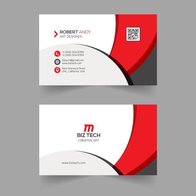 Red Vector Business Card Template Contoh Kartu Nama Kartu Nama Bisnis Kartu Nama