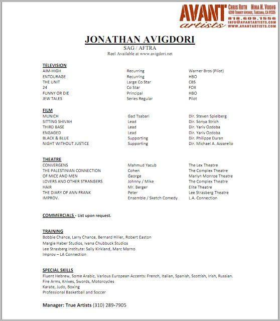 Best For The Kid Images On   Acting Resume Template