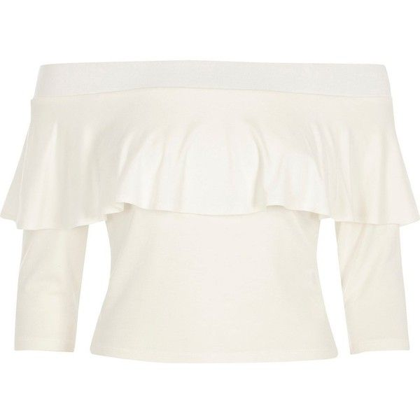 River Island Cream deep frill bardot top ($32) ❤ liked on Polyvore featuring tops, bardot / cold shoulder tops, cream, women, long sleeve crop top, ruffle top, flounce tops, cold shoulder crop top and open shoulder top