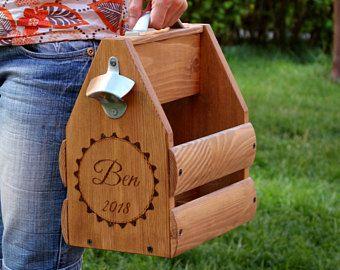 Regalo madera portador paquete de seis de cerveza, madera portador de cerveza, carrito madera de cerveza, Navidad, regalo de cumpleaños personalizado, cerveza regalo, regalo de padrino