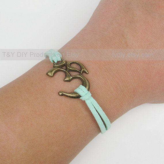 Yoga Bracelet  Charm Bracelet Antique brass OM Symbol on by TYdiy, $3.53