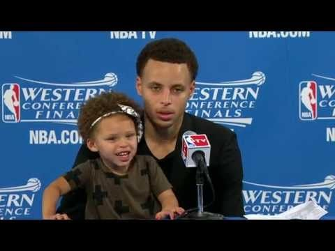 #StephCurry brought his daughter Riley to the podium for the post-game presser.