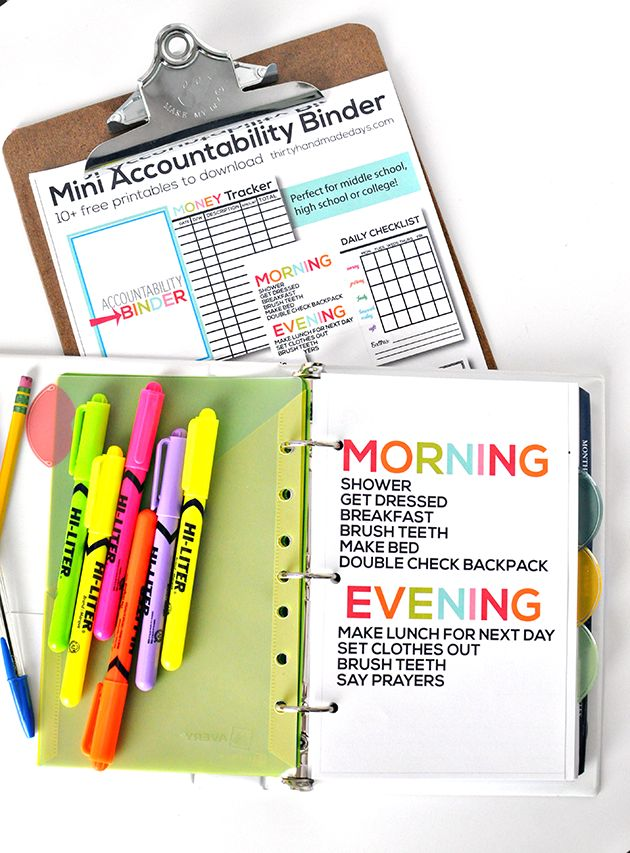 Free Printables. Mini Accountability Binder, My First Recipe Book (for kids to learn how to cook), etc