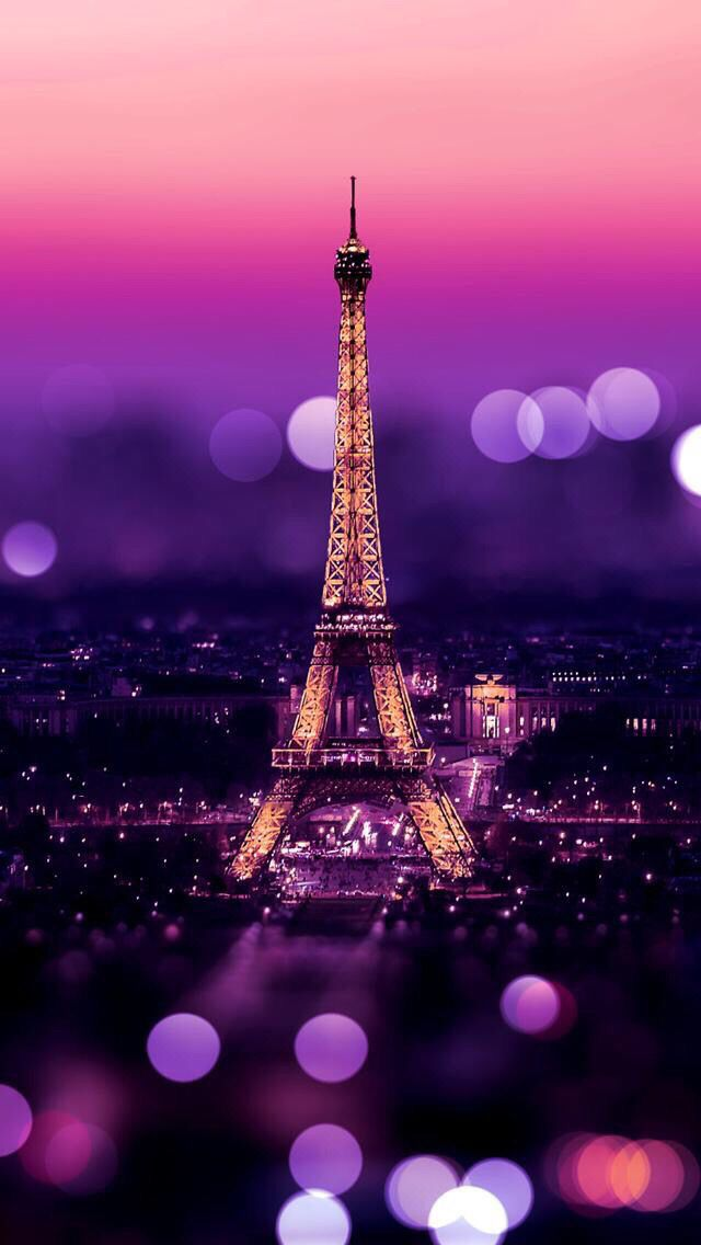 Eiffel Tower Night Bokeh Lights iPhone 5 Wallpaper