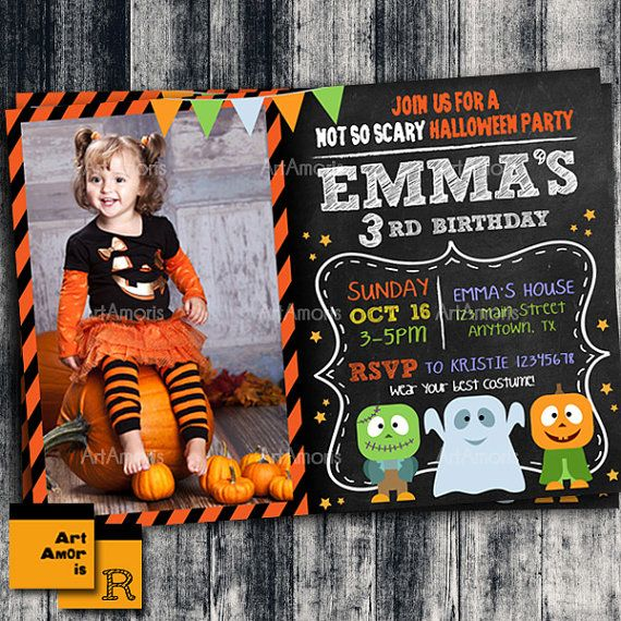Halloween Invitation Birthday Invitation Halloween by ArtAmoris