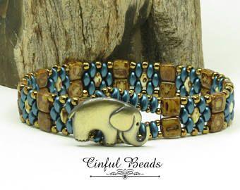 SUPERDUO CZECHMATE TILE Bracelet-Elephant Button-Pastel Petrol-Ivory Picasso-Antique Bronze-Novelty-Tribal-Boho-(SD161D)