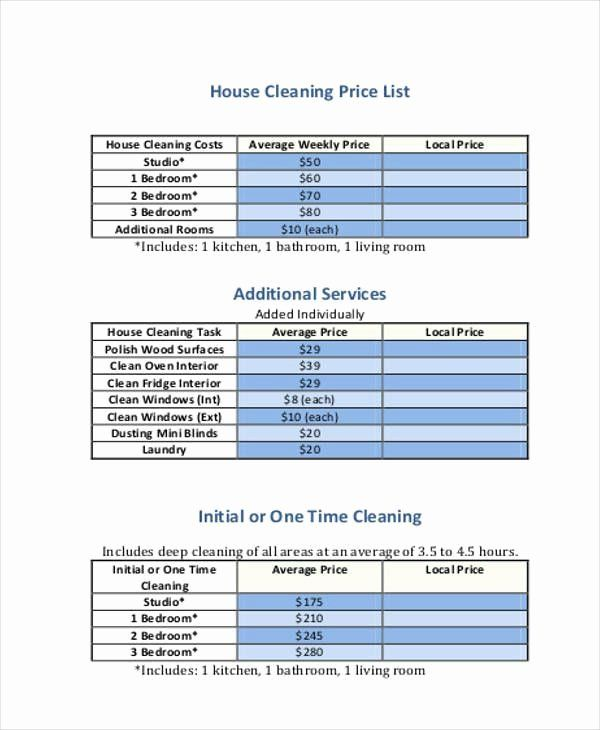 40 Cleaning Services Price List Template In 2020 Cleaning