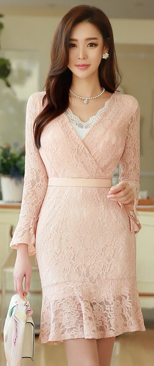 StyleOnme_Romantic Floral Lace Waist Tie V-Neck Dress #pink #pastel #floral #lace #dress #feminine #sweet #koreanfashion #seoul #kstyle #kfashion