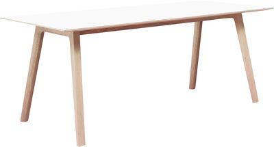 Bella Desk Schreibtisch ✪ Farbe Weiß, Gestell aus Eiche massiv geseift - Tischplatte weiß laminiert, B 240 cm x T 90 cm x H 74 cm ➜ madeindesign
