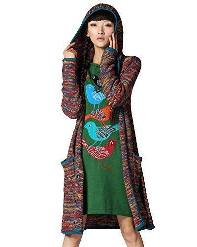 Vogueeasy Strickjacke Damen mit Kapuze Long Cardigan Strick jacke mantel Pullover für Winter Mehrfarbig