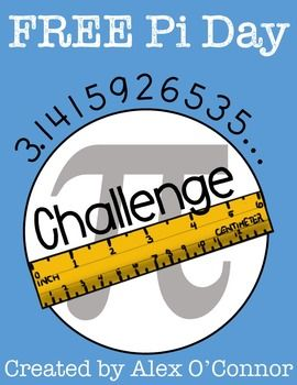 Pi Day Challenge Freebie! This free math activity is a fun Pi Day challenge for students in upper elementary, middle school, or high school grades. Students must measure the circumference and diameter of their circle, divide, and see who can get the closest to pi! Make Pi Day fun this year with this FREE activity!