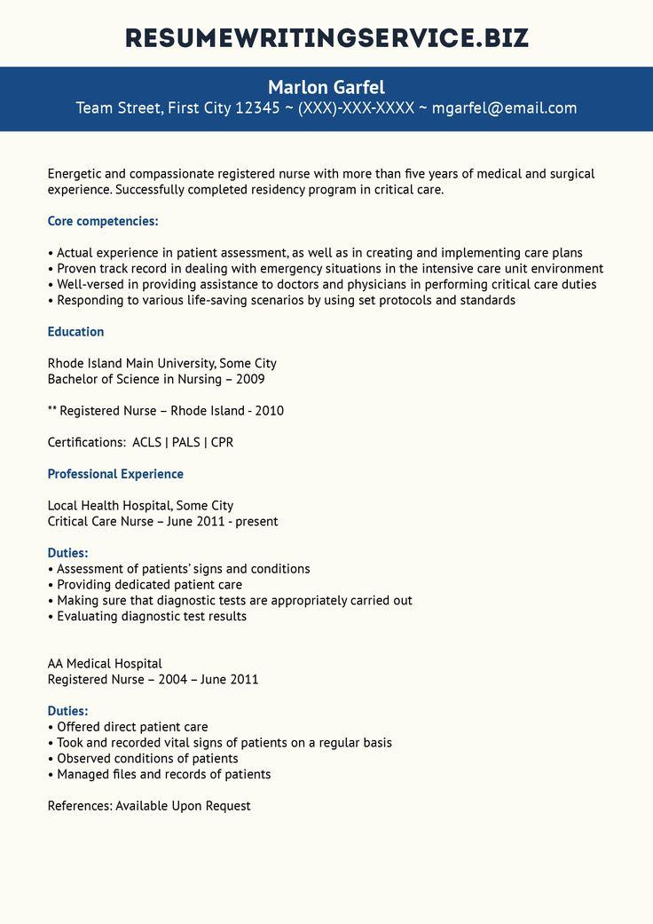 critical care nurse resume sample
