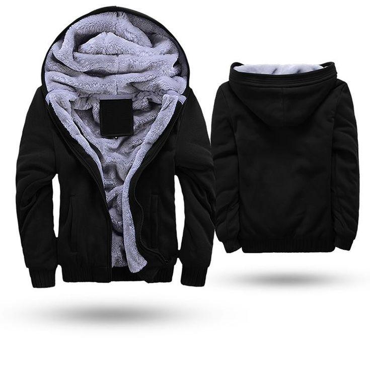 Blusa jaqueta de frio masculina com capuz e forro de lã