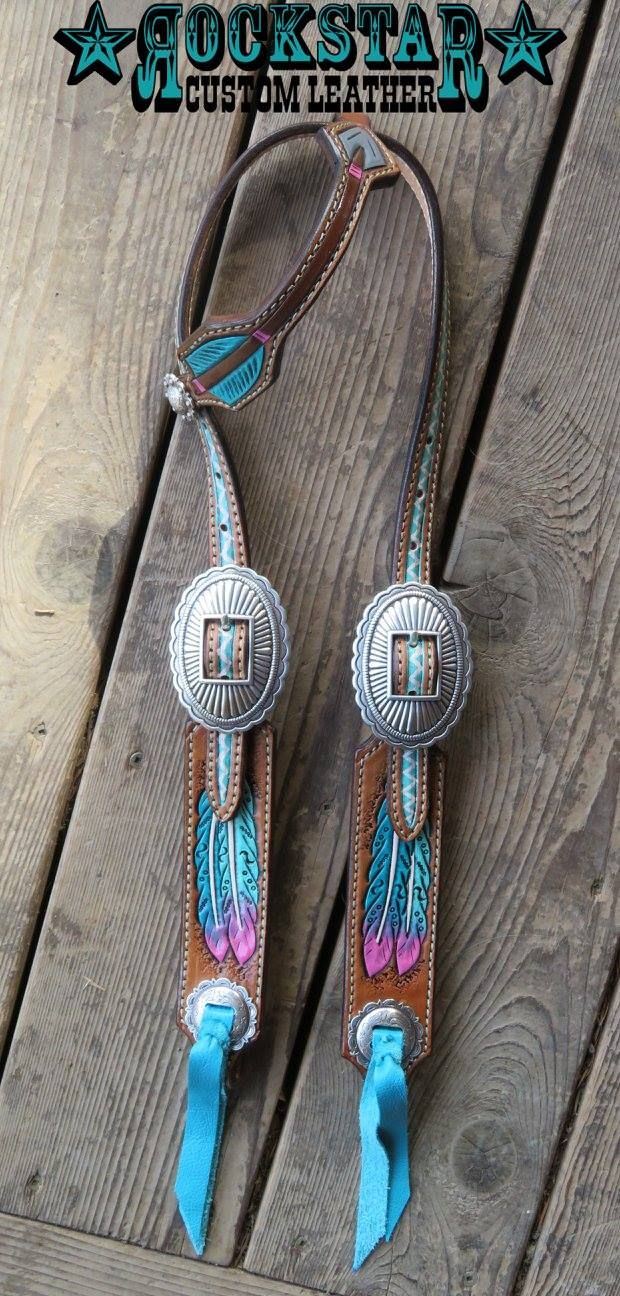 Rockstar Custom Leather headstall - turquoise and pink feathers and arrow