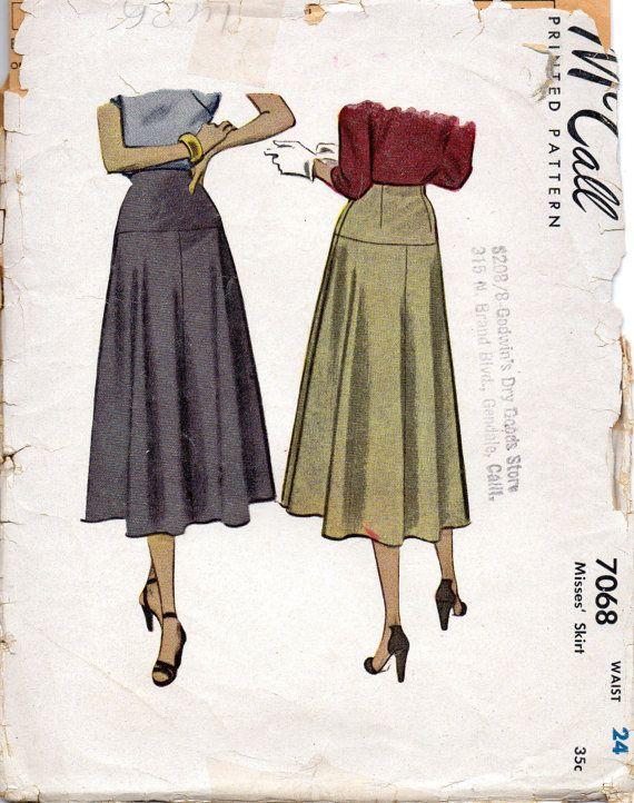mccall 7068 1940s misses yoked skirt pattern womens