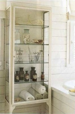 vintage bathroom -  note to self....remember this unit and repurpose smaller display case for future bathroom