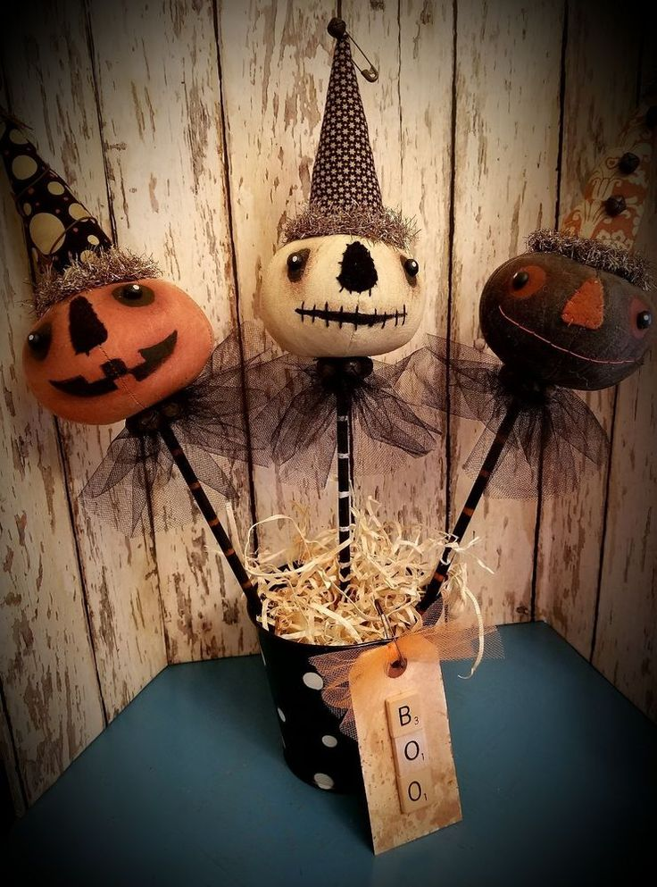 MUST SEE! Primitive Halloween Noise Makers ~ Ornies ~ Pumpkins ~Witch ~ Doll ~