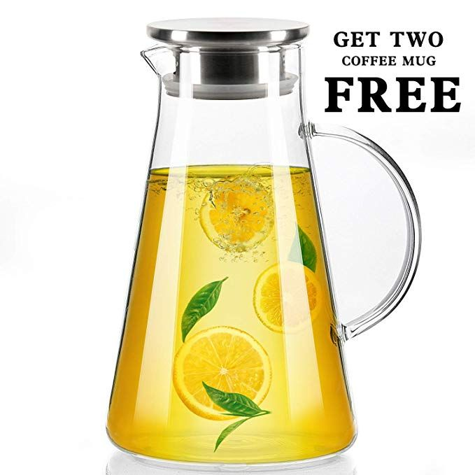 68 Oz Glass Water Pitcher With Stainless Steel Lid Beverage Jug For Juice Lemon Water Iced Tea Water Carafe With Handle 2 Water Carafe Lemon Water Iced Tea