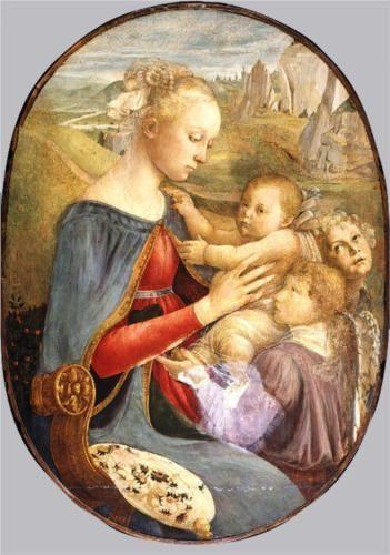 Madonna and Child with Two Angels - Sandro Botticelli  SANDRO BOTTICELLI  vero nome Alessandro di Mariano di Vanni Filipepi (Firenze, 1º marzo 1445 – Firenze, 17 maggio 1510)   #TuscanyAgriturismoGiratola