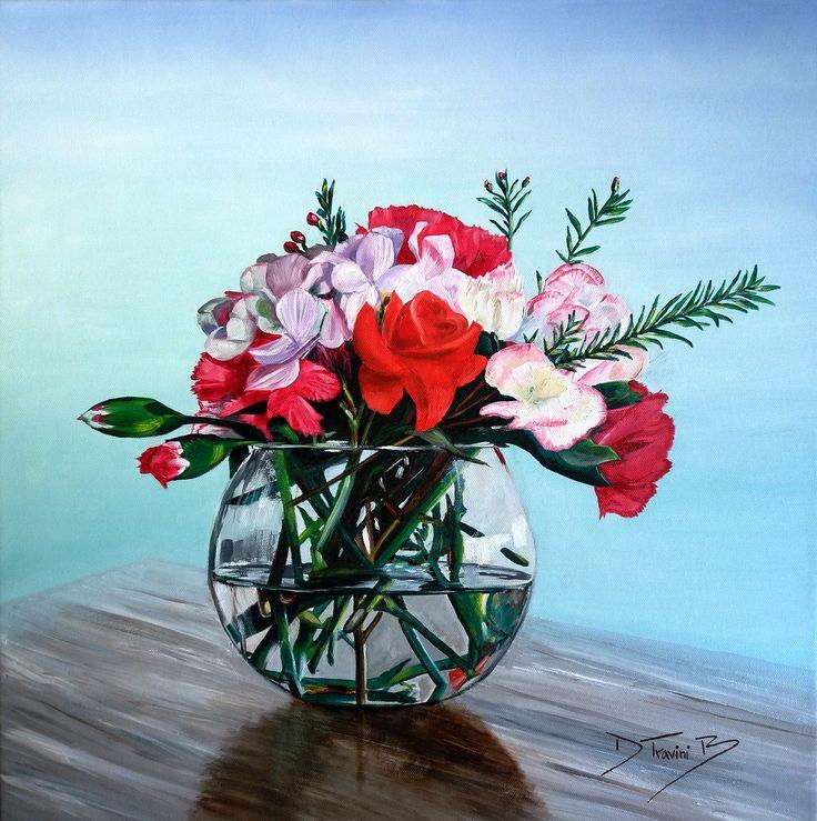 Daniela Travini Bodegón de flores óleo sobre tela de 40 x 40 cms ORIGINAL ¡Buen trabajo!