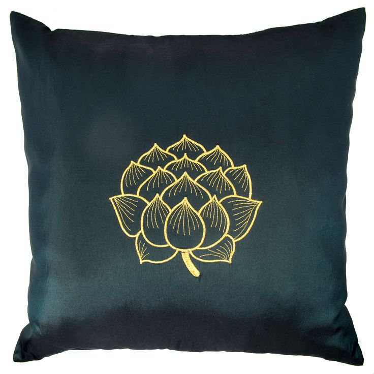 Thai Silk Throw Pillow Cover Lotus Bloom Design Green