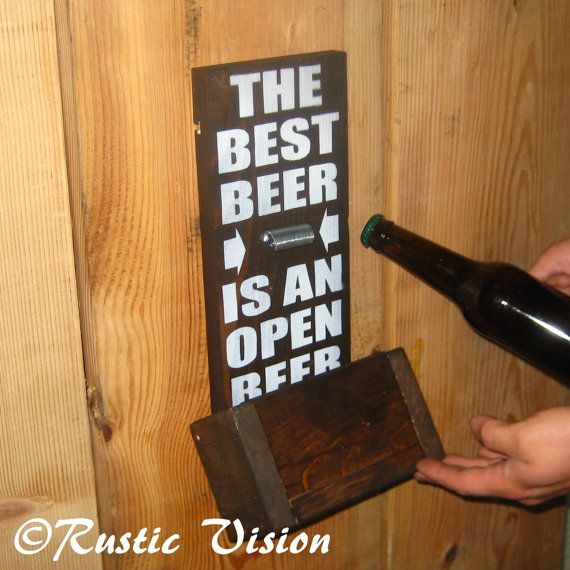 Beer Sign Bottle Opener Gift For Man by RusticVision on Etsy - perfect for Jordan's man cave
