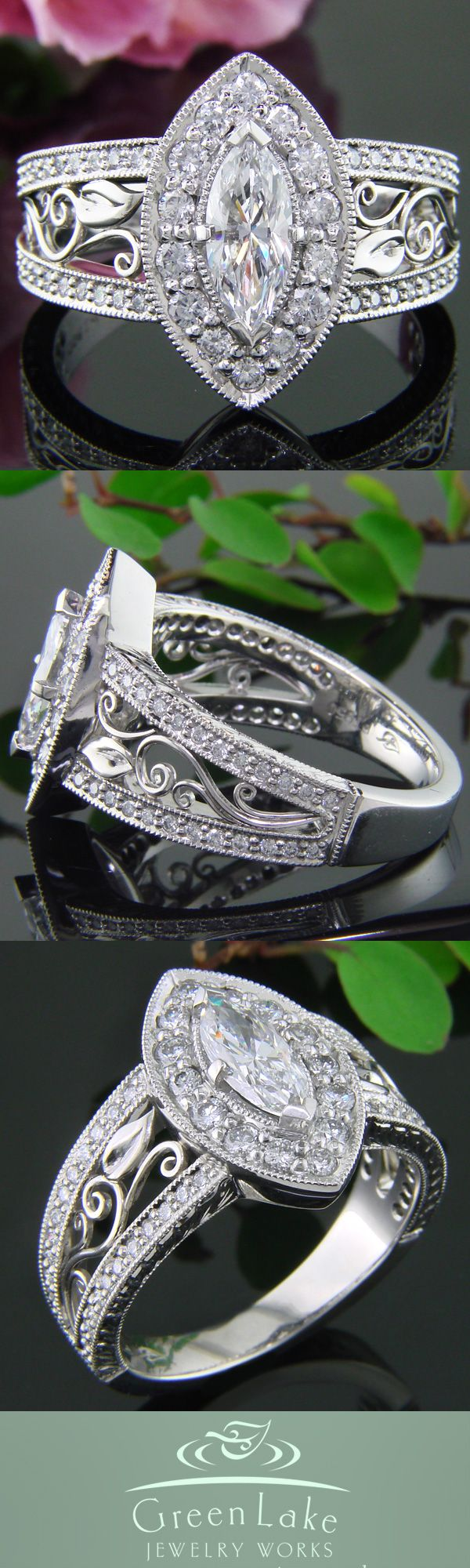 Platinum marquis halo engagement ring with hand crafted filigree