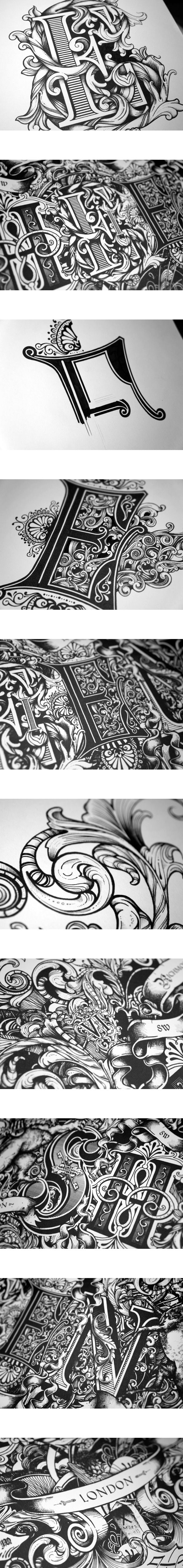 Sheen by Greg Coulton, via Behance | Holy cow...better than the monks who did illuminated manuscripts.