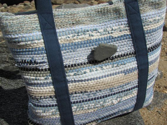 Tote Bag, Handwoven Recycled Rag Cotton Purse, Sand & Sea Beach Cottage Chic, Coastal Nautical Style