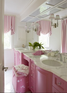 """pink bathroom-I'm sitting here asking """"Did I pin this already? Probably. I won't pin it. But what if I didn't? It's so pink! I'd better pin it anyway. I can always delete it later."""""""