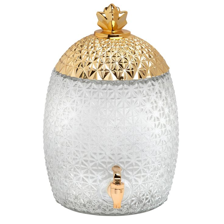 Tropical drink dispenser - textured glass pineapple.