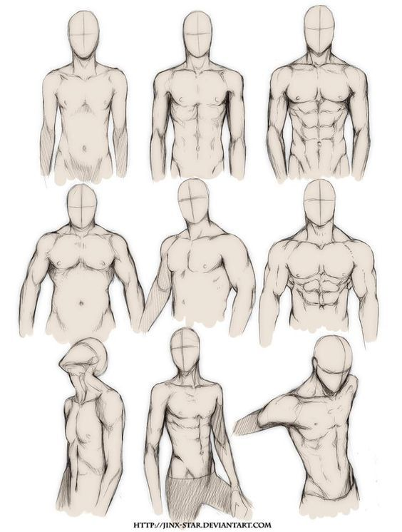 How to Draw the Human Body - Study: Male Body Types Comic / Manga Character Reference:
