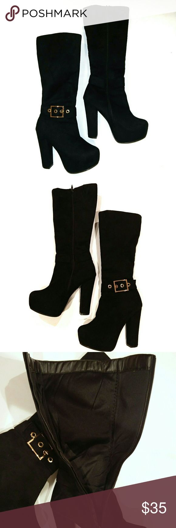 "SUEDE PLATFORM Tall Boots w/buckle sz.6 SUEDE PLATFORM Tall Boots with large buckle  sz.6 Zipper closure  5"" stock heel including 1. 5"" platform CALF CIRCUMFERENCE 14"" Shoes Heeled Boots"