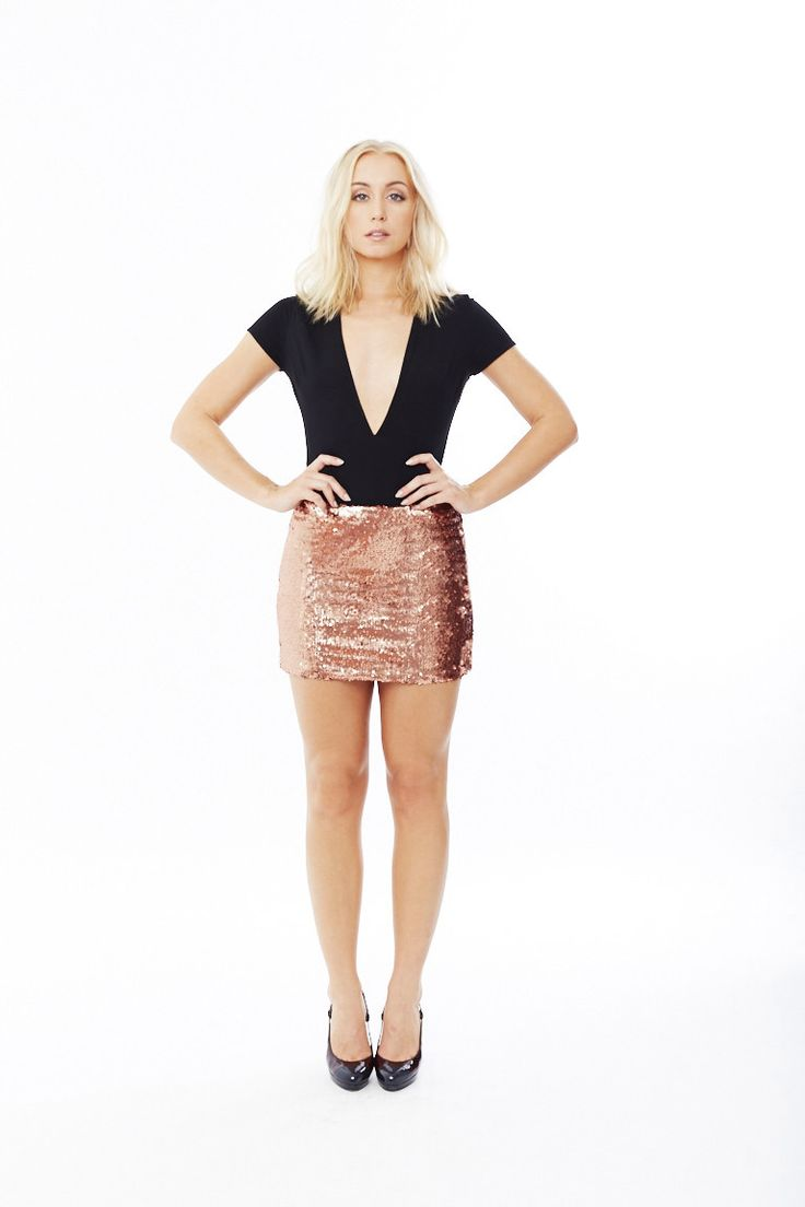 Rosé Sequin Mini Skirt