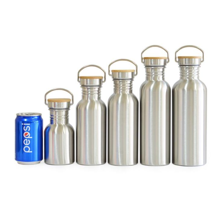 Stainless Steel Water Bottle Bamboo Lid-BPA Free. Great for Sports Hydration.