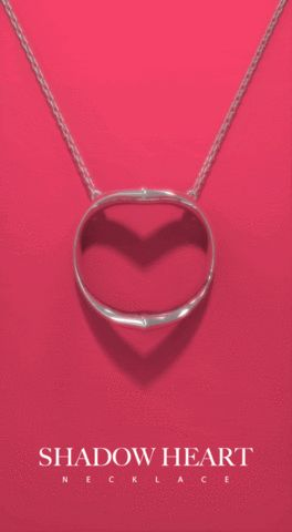 Shadow Heart silver necklace casts silhouette of heart. – OBJECTOUS