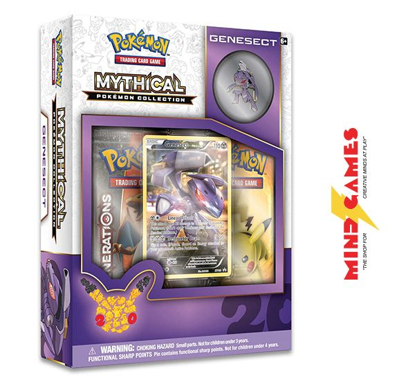 Unleash the untapped power of mysterious mythical Pokemon with the Pokemon TCG: Mythical Pokemon Collection Genesect! Now is your chance to put Genesect under your helm, as these Pokemon usually mysteriously appear when they choose to! The Pokemon TCG: Mythical Pokemon Collection Genesect features a never-before-seen foil promo card featuring Genesect, a Genesect collector's pin, 2 booster packs from the Pokemon TG: Generations expansion and a code card for use with Pokemon Trading Card Game…
