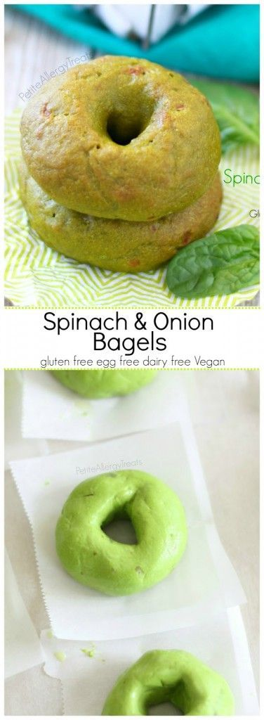 Spinach and Onion Bagels (gluten free egg free Vegan)- Delicious chewy bagels packed with spinach and onion!
