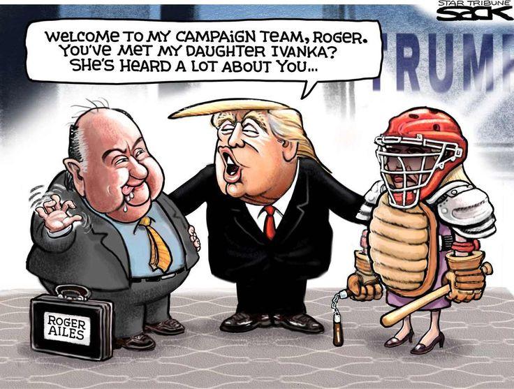 Sack cartoon: Roger Ailes on the Trump team