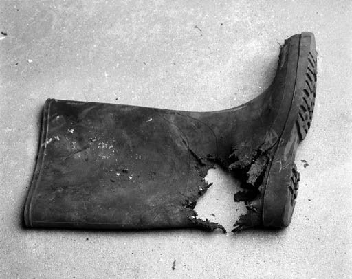 Wellington  boot, one of the objects from Cornelia Parker's installation Cold Dark Matter: An Exploded View